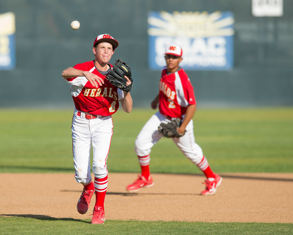 Description of . Santa Fe High baseball vs Whittier Christian High at Biola University's field in La Mirada March 12, 2013.  (SGVN/Staff photo by Leo Jarzomb)