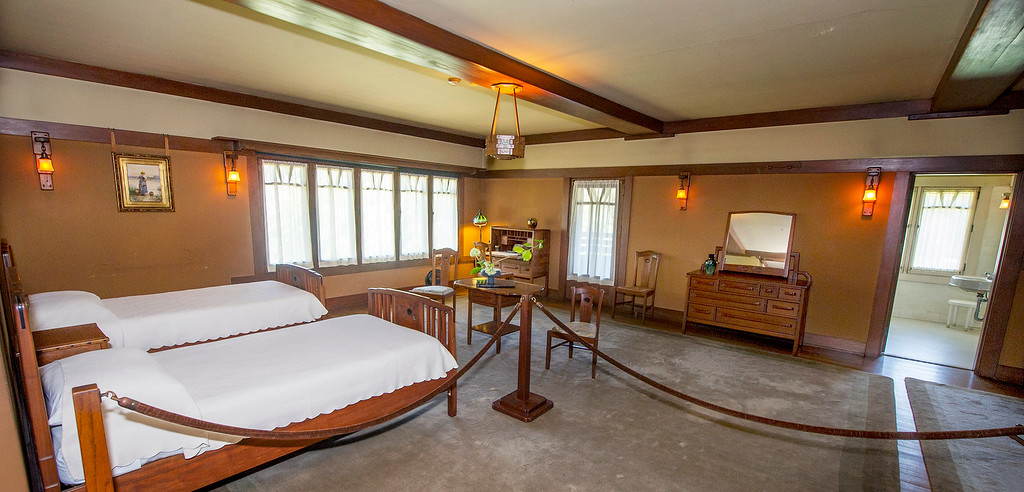 "Description of . David and Mary Gamble bedroom at the Gamble House. Fans of the BBC's ""Upstairs/Downstairs"" and ""Downton Abbey"" can get a rare, behind-the-scenes look at the real deal when the Gamble House, located at  4 Westmoreland Place in Pasadena. The Gamble House opens up its servants quarters for three weeks only, beginning Aug. 1. The tour is based on new findings about the Gamble family and its servants. Part of the first floor will be closed on the tour due to renovations.(SGVN/Photo by Walt Mancini)"