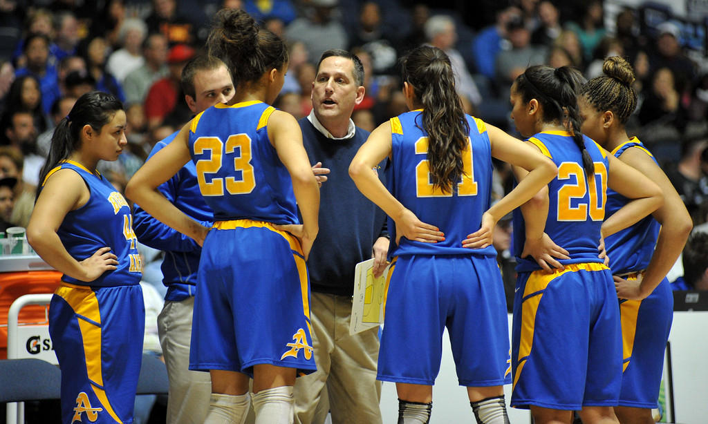 Description of . Bishop Amat plays Canyon Springs in the CIF-SS Division 1A girls basketball finals at the Anaheim Arena on Friday March1, 2013. Canyon Springs beat Bishop Amat 48-46. (SGVN/Staff Photo by Keith Durflinger)