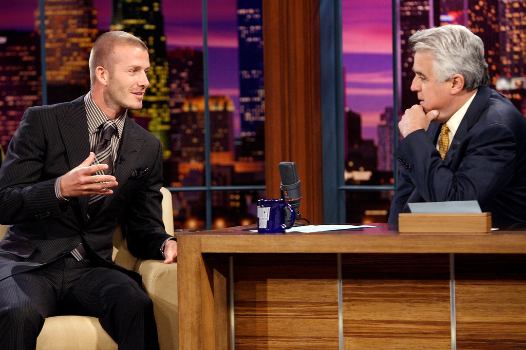 . In this photo provided by NBC, soccer player David Beckham, left, talks to Jay Leno on The Tonight Show with Jay Leno, during a taping Tuesday, April 1, 2008 in Los Angeles.  (AP Photo/Dave Bjerke, NBCU) ** TABLOIDS OUT, NO ARCHIVES, PHOTO MUST BE USED IN ITS ENTIRETY, NO SALES, FOR EDITORIAL USE IN USA, MEXICO, CENTRAL AMERICA, SOUTH AMERICA, JAPAN, AFRICA AND POLAND. BRAZIL OUT; CHILE OUT; URUGUAY OUT; ARGENTINA OUT; SOUTH AFRICA OUT **