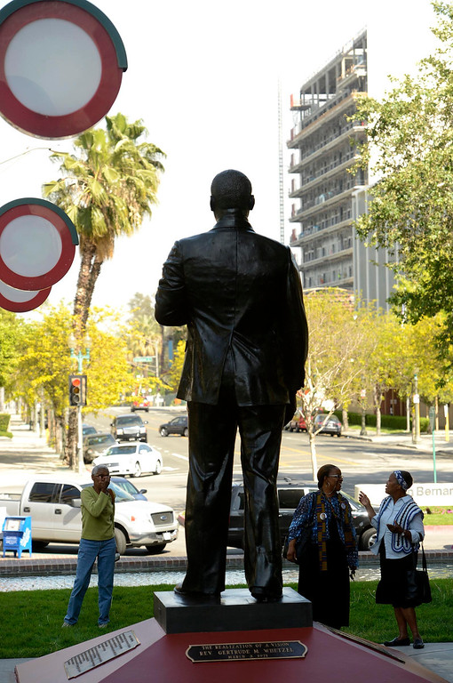 . The newly restored Martin Luther King statue stands  in the Civic Center of downtown San Bernardino April 12, 2013.  GABRIEL LUIS ACOSTA/STAFF PHOTOGRAPHER.