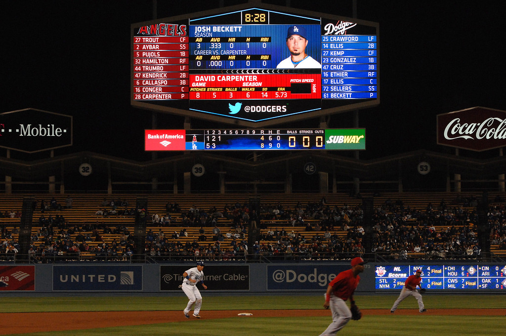 . The new scoreboards were unveiled at Dodger Stadium during the Freeway Series, Friday, March 29, 2013. (Michael Owen Baker/Staff Photographer)