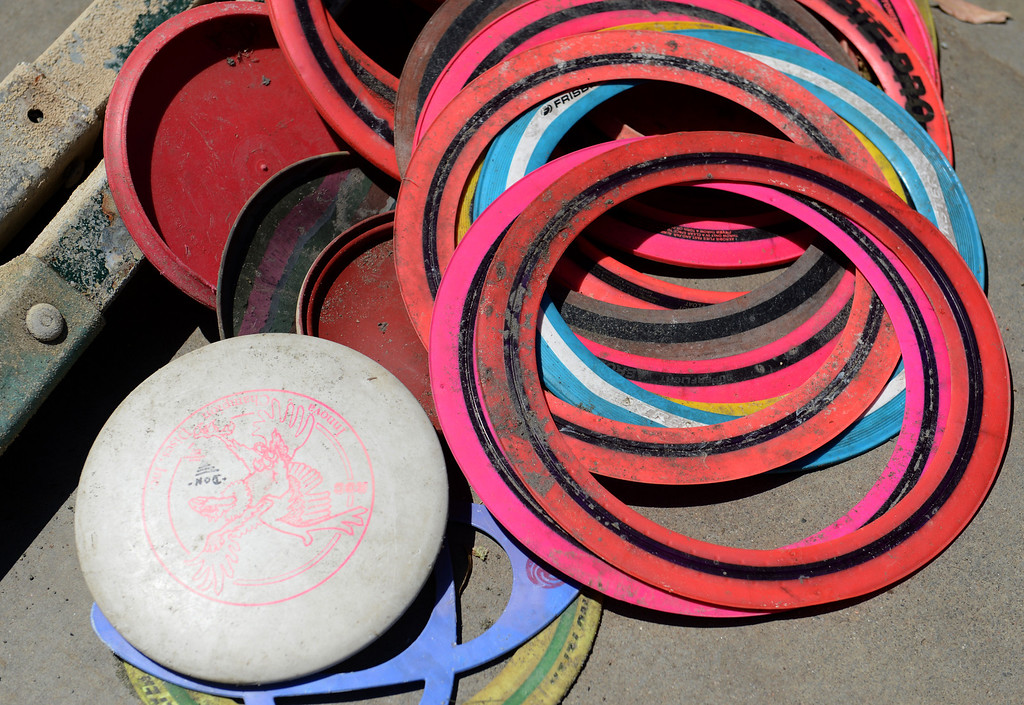 . Frisbees found in the lake at Red Hill Park in Rancho Cucamonga, CA, Thursday, June 5, 2014. (Photo by Jennifer Cappuccio Maher/Inland Valley Daily Bulletin)
