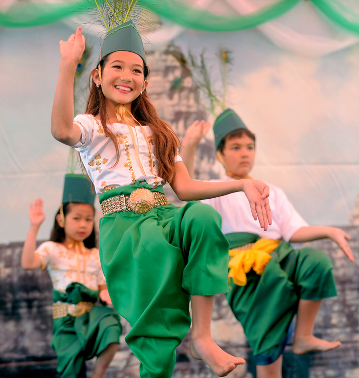 . 04-27-2013-(LANG Staff Photo by Sean Hiller)- Alicia Gerrity, 9, performs with the Cambodian Arts Heritage Relief Foundation at the Cambodian New Year Celebration at El Dorado Park in Long Beach. The Cambodian community celebrated the year of the snake with Khmer traditional ceremonies, traditional and modern performances, live bands and famous Khmer singers performing throughout the day.