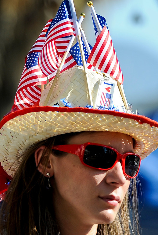 . A woman sport patriotic hat in the 30th annual Run Through Redlands race on Sunday, April 21, 2013. The race proceeds benefited the Kiwanis Club Foundation and scholarship opportunities for high school seniors. (Rachel Luna / Staff Photographer)