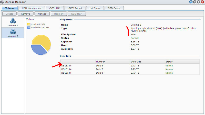 Replacing a hard disk of similar capacity in Synology DS1813+