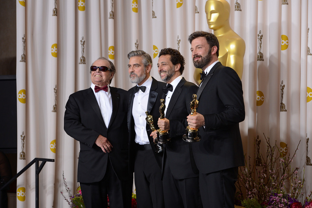 """. Jack Nicholson, George Clooney, Grant Heslov, and Ben Affleck, accepts the award for best picture for \""""Argo\""""  backstage at the 85th Academy Awards at the Dolby Theatre in Los Angeles, California on Sunday Feb. 24, 2013 ( David Crane, staff photographer)"""
