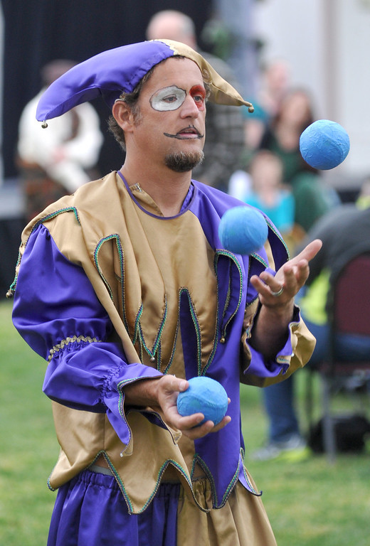 ". Chris Sanita performs during Shakespeare Festival and performance of ""Much Ado About Nothing\"" at Whittier Christian High School in La Habra on Wednesday April 24, 2013. The festival included food booths, crafts, juggling, music and an open air performance on the lawn. (SGVN/Staff Photo by Keith Durflinger)"
