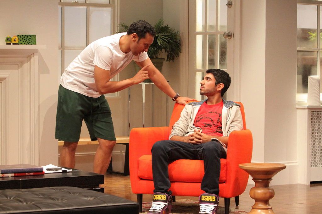 ". This theater image released by Philip Rinaldi Publicity shows Aasif Mandvi, left, and Omar Maskati in a scene from Ayad Akhtar\'s play, ""Disgraced\"" in New York.  Akhtar was awarded the 2013 Pulitzer Prize for Drama for his work \""Disgraced\"", on Monday, April 15, 2013. (AP Photo/Philip Rinaldi Publicity, Erin Baiano)"