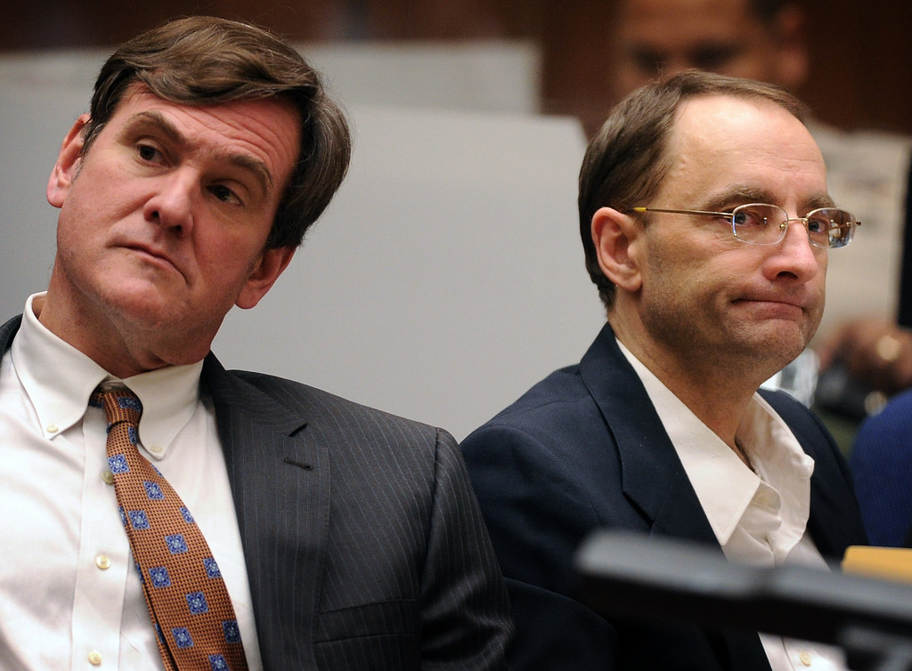 Description of . R. Bradford (Brad) Bailey, attorney, left with his clientChristian Gerhartsreiter at the murder trial of Christian Gerhartsreiter, 52,  known as