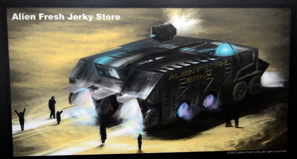 Description of . Artist rendering of the remodeling of the Alien Fresh Jerky in Baker, CA, Thursday, April 3, 2014. The owner is planning to build a UFO shaped hotel behind the popular Alien Fresh Jerky store. (Photo by Jennifer Cappuccio Maher/Inland Valley Daily Bulletin)