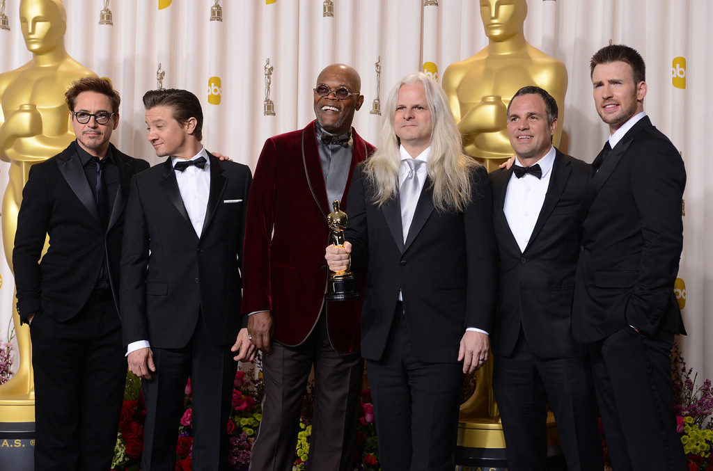 . Cast of The Avengers with Claudio Miranda backstage at the 85th Academy Awards at the Dolby Theatre in Los Angeles, California on Sunday Feb. 24, 2013 ( David Crane, staff photographer)