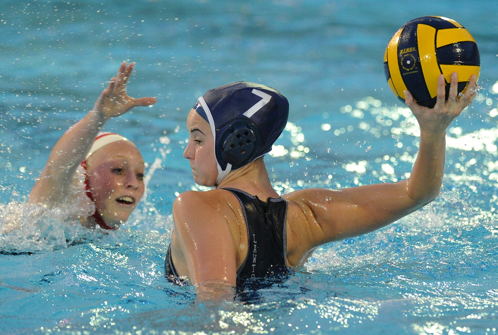 Description of . Crescenta Valley's Breanna Lawton (#7) makes a goal as they play Redlands East Valleyin the Southern Section Div. V semifinals girls water polo game at Whittier College's Lillian Slade Aquatics Center on Wednesday February 20, 2013. Crescenta Valley beat Redlands East Valley 14-4. (Staff photo by Keith Durflinger)