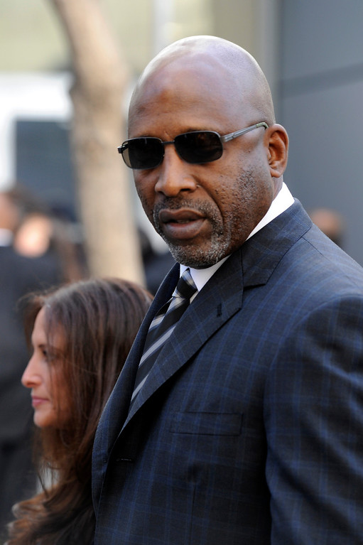 . James Worthy arrives at the Jerry Buss Memorial Service at Nokia Theatre, Thursday, February 21, 2013. (Michael Owen Baker/Staff Photographer)
