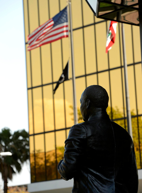 Description of . The newly restored Martin Luther King, Jr. statue stands  in the Civic Center of downtown San Bernardino April 12, 2013.  GABRIEL LUIS ACOSTA/STAFF PHOTOGRAPHER.