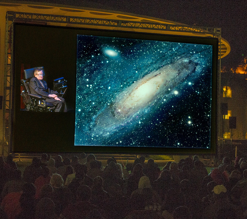 Description of . Physicist Stephen Hawking gave a free public lecture, titled the