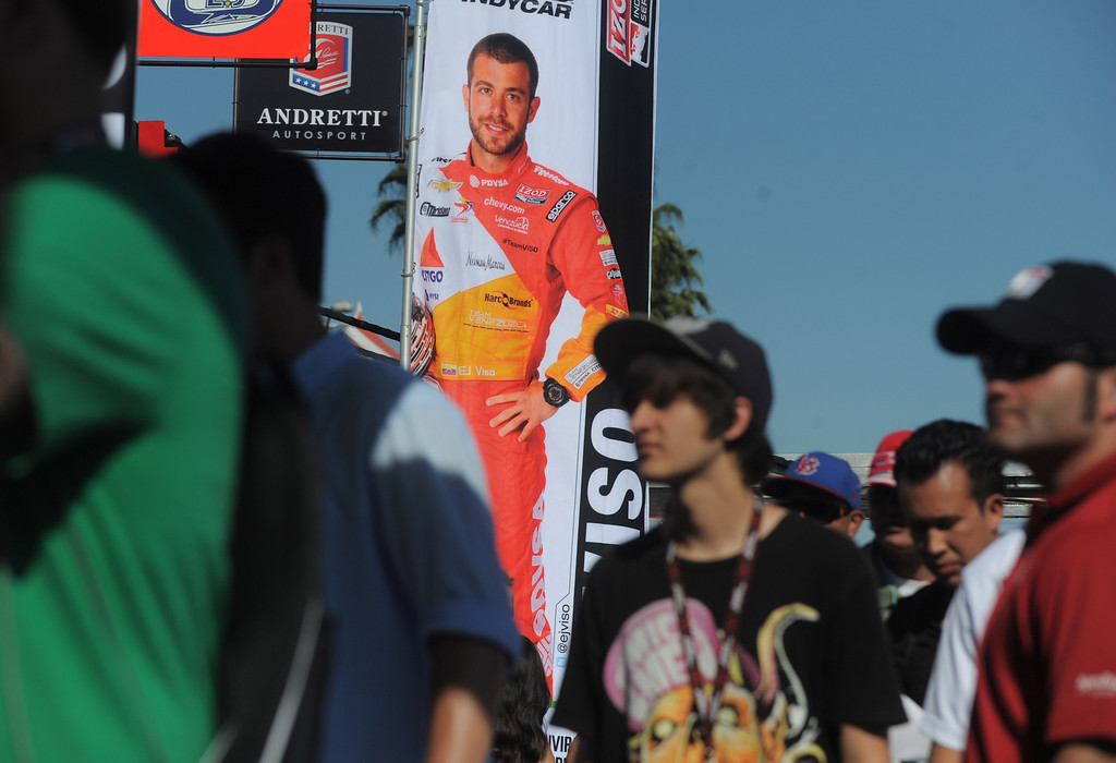 . 04-19-2013-(LANG Staff Photo by Sean Hiller)- Fans line up to meet Indycar drivers at the Toyota Grand Prix in Long Beach.