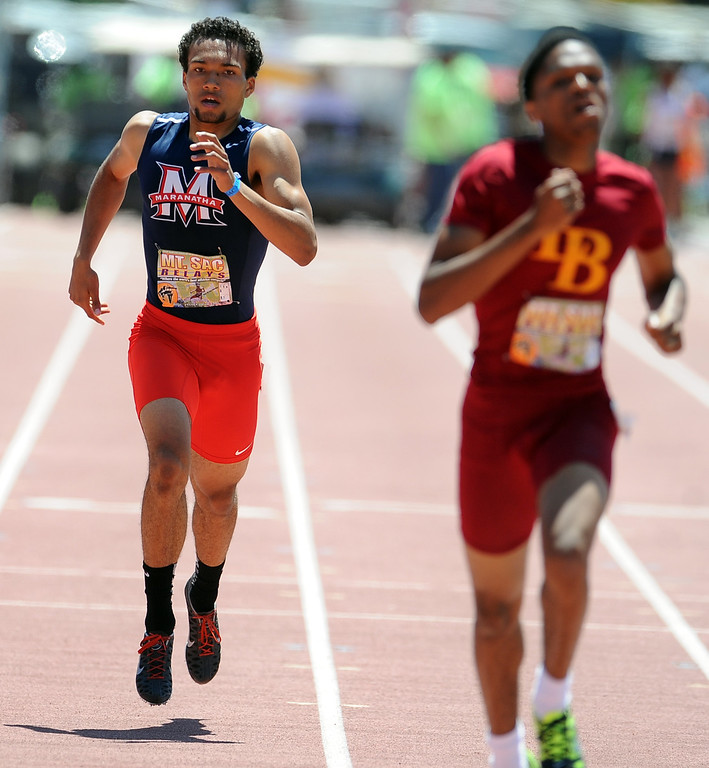 Description of . Kyle Brown of Maranatha finished seventh in the 400 meter dash seeded high school during the Mt. SAC Relays in Hilmer Lodge Stadium on the campus of Mt. San Antonio College on Saturday, April 20, 2012 in Walnut, Calif.    (Keith Birmingham/Pasadena Star-News)