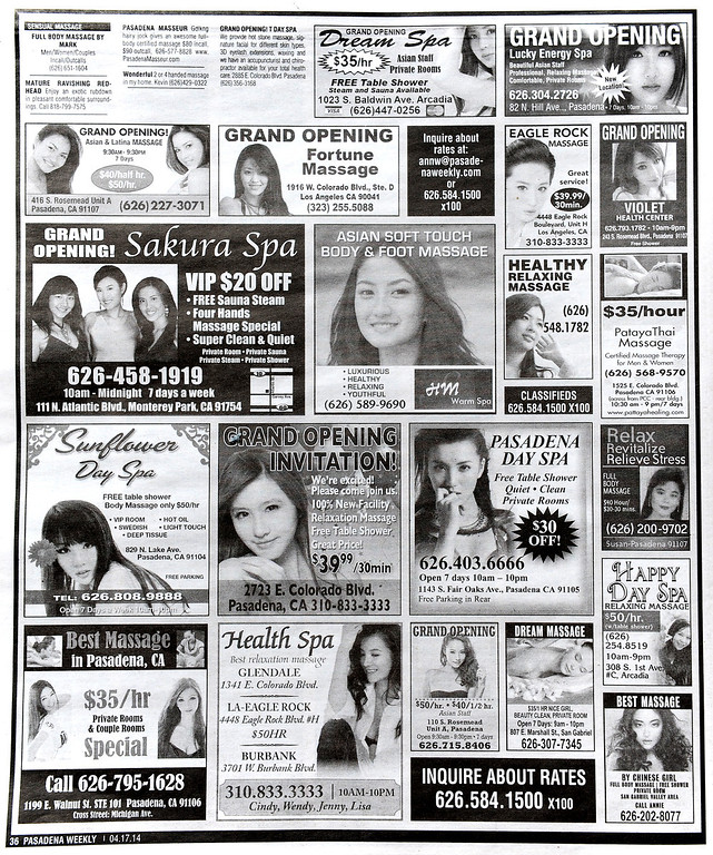 . Advertising in the Pasadena Weekly for  Massage businesses Thursday, April 17, 2014. (Photo by Walt Mancini/Pasadena Star-News)