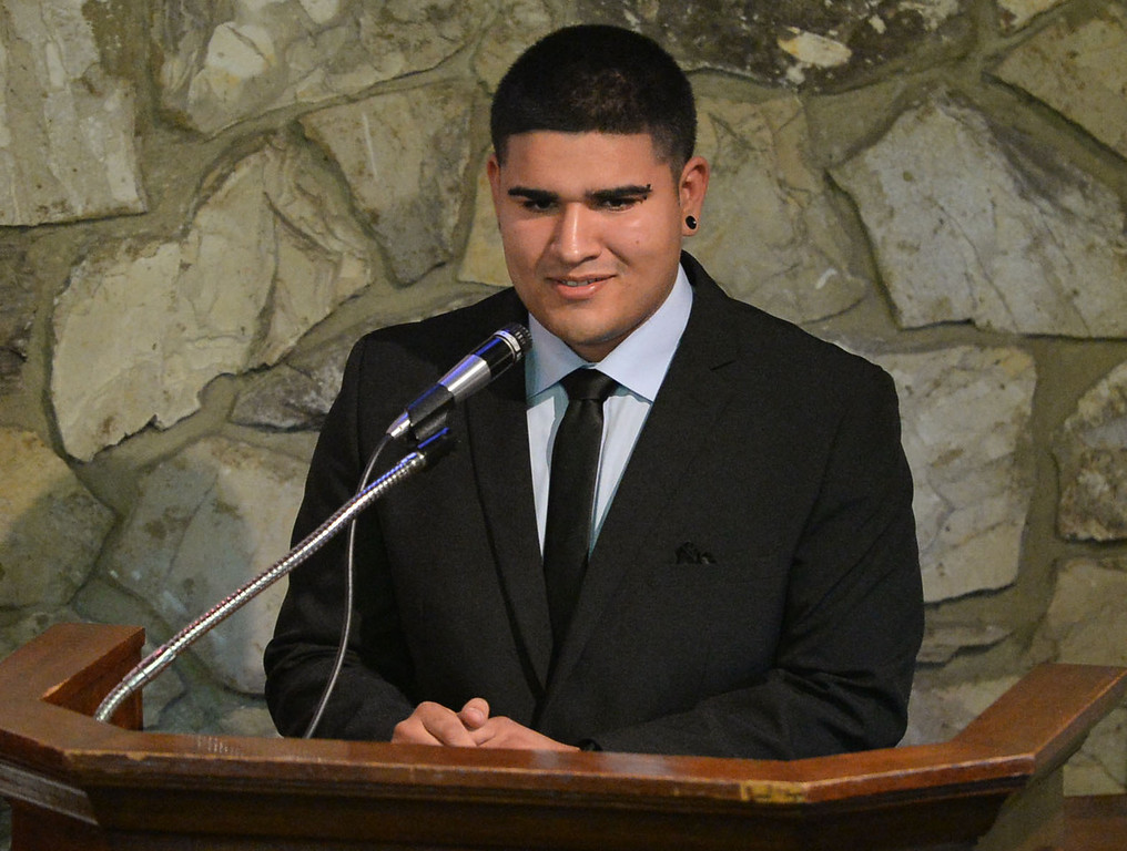 . Funeral services were held for Torrance High student Valentina d\'Alessandro Wednesday, December 11, 2013, in Torrance, CA. Friend Jacob Guerrero speaks at the ceremony. D\'Alessandro was killed in a traffic collision in Wilmington Saturday. Photo by Steve McCrank/DailyBreeze