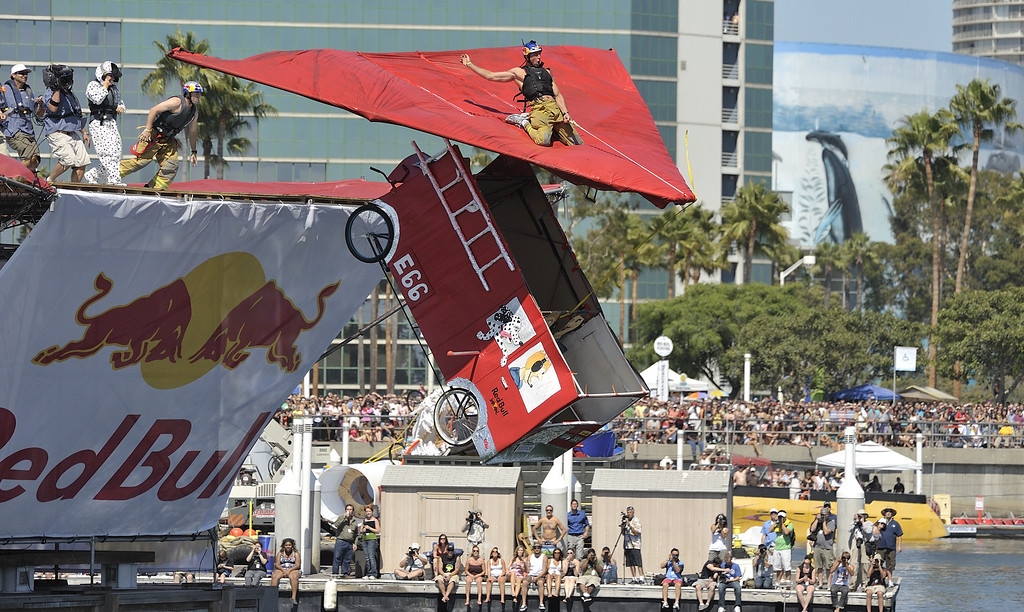 ". LONG BEACH, CALIF. USA -- Flugtag entry ""The Hosers\"" in Rainbow Harbor in Long Beach, Calif. on August 21, 2010. Thirty five teams competed in the Red Bull event where teams build homemade, human-powered flying machines and pilot them off a 30-foot high deck in hopes of achieving flight.  Flugtag means \""flying day\"" in German. They are on distance, creativity and showmanship..Photo by Jeff Gritchen / Long Beach Press-Telegram.."