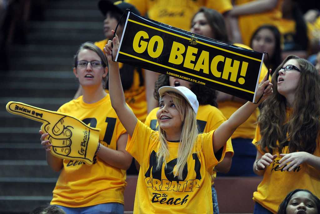 . LBSU fans cheer the 49ers at the Honda Center in Anaheim, CA on Thursday, March 13, 2014. Long Beach State vs CSU Fullerton in the Big West men\'s basketball tournament. 2nd half. LBSU won 66-56.  Photo by Scott Varley, Daily Breeze)
