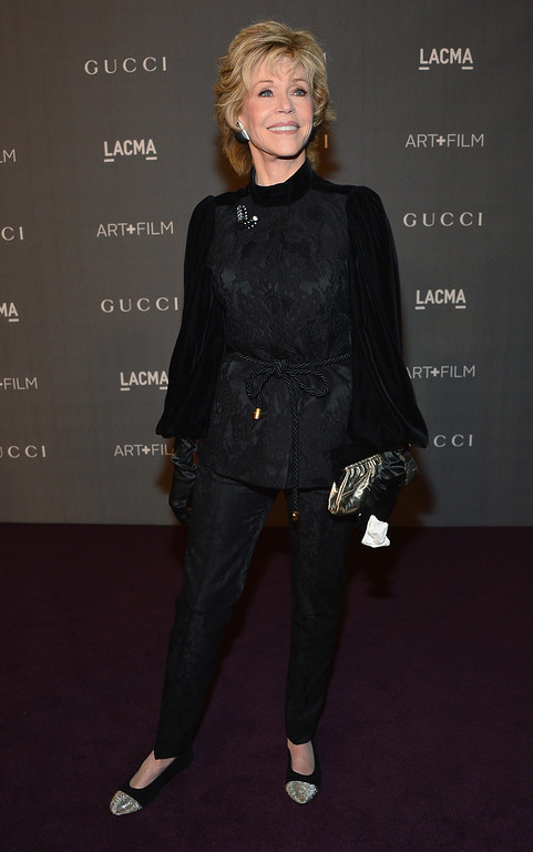 . LOS ANGELES, CA - OCTOBER 27:  Actress Jane Fonda arrives at LACMA 2012 Art + Film Gala Honoring Ed Ruscha and Stanley Kubrick presented by Gucci at LACMA on October 27, 2012 in Los Angeles, California.  (Photo by Frazer Harrison/Getty Images for LACMA)