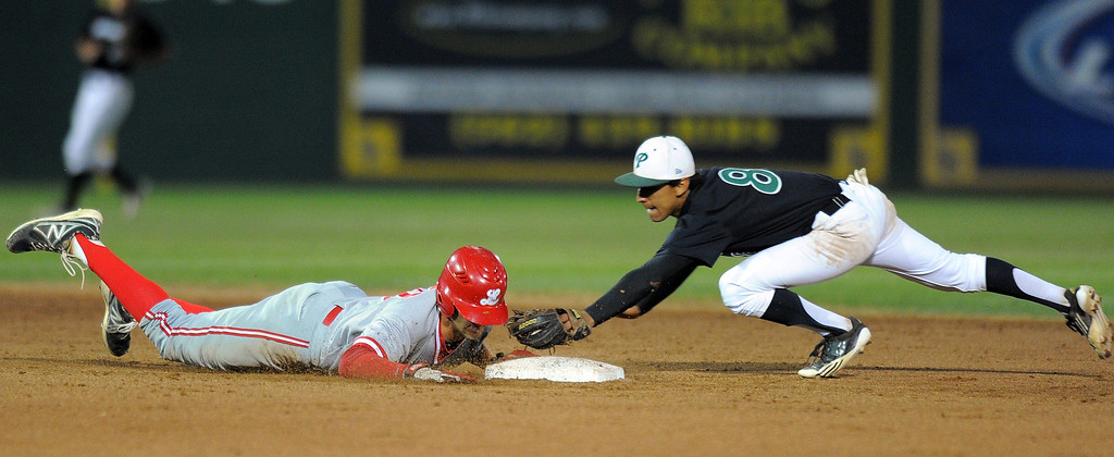 . LONG BEACH - 04/24/13 - (Photo: Scott Varley, Los Angeles Newspaper Group)  Long Beach Poly vs Lakewood in a Moore League baseball game at Blair Field. Lakewood\'s Andrew Mendoza gets back safely to 2B before Julian Griego can apply the tag.
