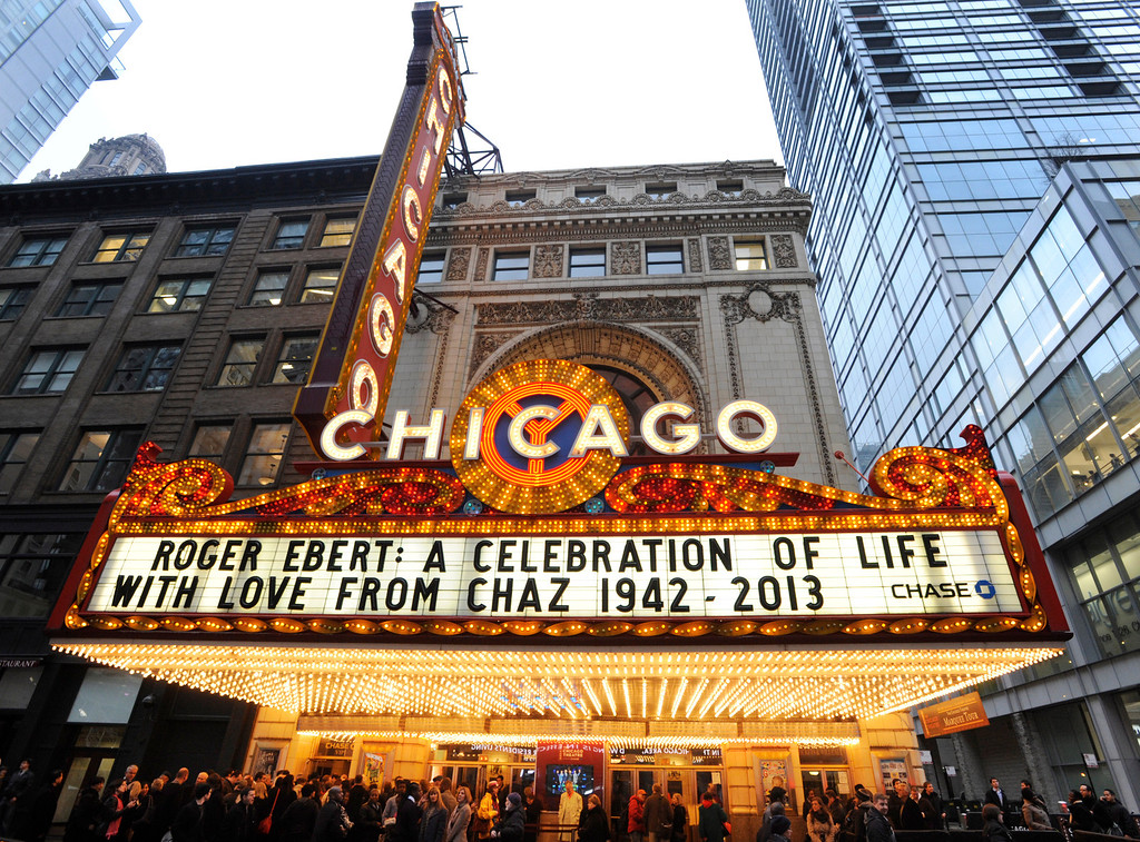 . The Chicago Theater marquee before a memorial for film critic Roger Ebert in Chicago, Thursday, April 11, 2013. The Pulitzer Prize winning critic died last week at the age of 70 after a long battle with cancer. (AP Photo/Paul Beaty)