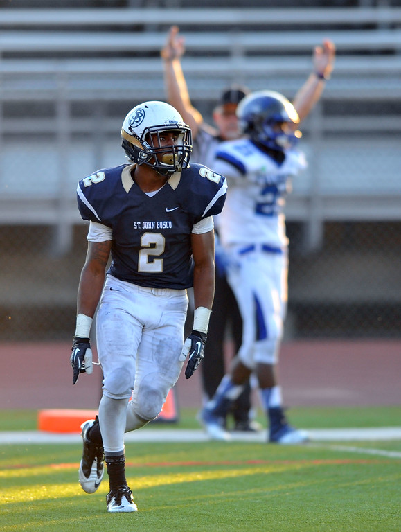 . St. John Bosco football takes on Chandler, Airzona as part of the Mission Viejo Classic in Mission Viejo, CA on Saturday, September 14, 2013. St. John Bosco won 52-31.  Bosco\'s Jaleel Wadood celebrates a 3rd qtr TD. (Photo by Scott Varley, Press-Telegram)