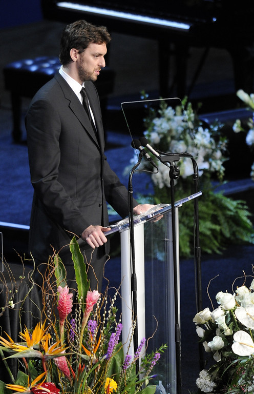 . Pau Gasol speaks in spanish.  Family, friends current and former Lakers players and coaches attended a memorial service at the Nokia Theatre for Laker owner Jerry Buss who passed away on Monday, 2/18/2013 as a result of cancer. Los Angeles, CA 2/21/2013 John McCoy/Staff Photographer