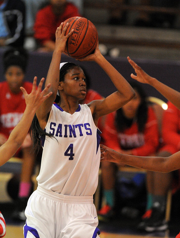 . LONG BEACH - 02/20/13 - (Photo: Scott Varley, Los Angeles Newspaper Group)  Serra and St. Anthony meet in the Quarterfinals of the Division 4AA CIF-SS girls basketball playoffs. St. Anthony\'s Stephanie Williams takes a shot.