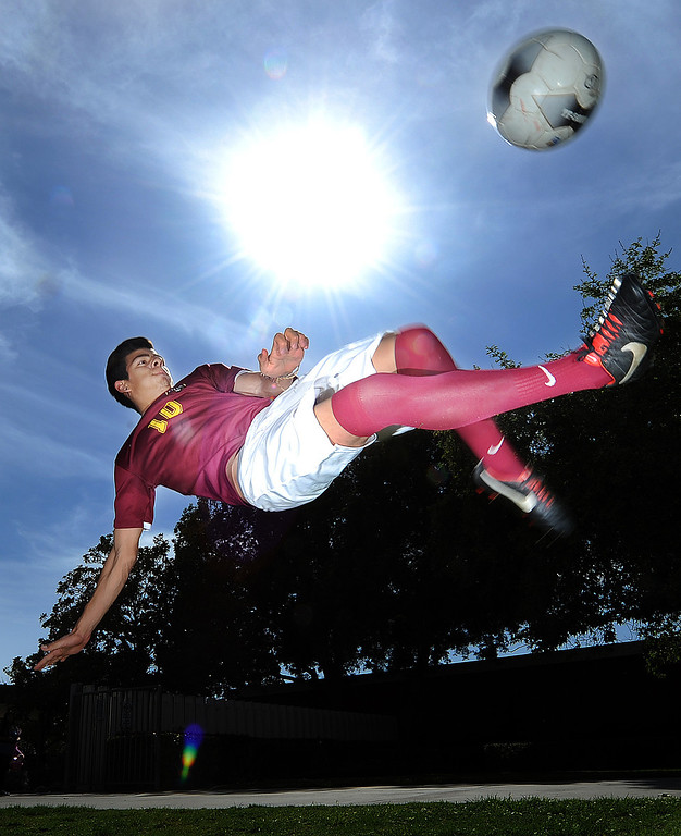 Description of . Adrien Perez of Ontario High School has been named player of the year and to The Sun's All-Valley Boy's soccer team. Staff photo by Will Lester
