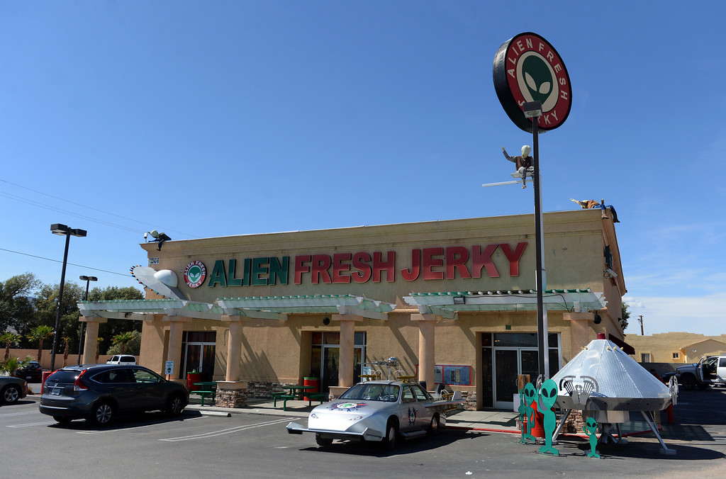Description of . Alien Fresh Jerky in Baker, CA, Thursday, April 3, 2014. The owner is planning to build a UFO shaped hotel behind the popular Alien Fresh Jerky store. (Photo by Jennifer Cappuccio Maher/Inland Valley Daily Bulletin)