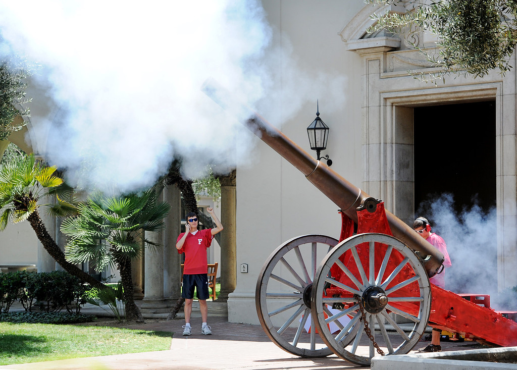 . Keeping with tradition, the Caltech cannon is fired at the end of the 120th Annual Commencement at California Institute of Technology Friday, June 13, 2014.  There was a bit of delay with the first attempted to fire the cannon did not succeed.(Photo by Walt Mancini/Pasadena Star-News)