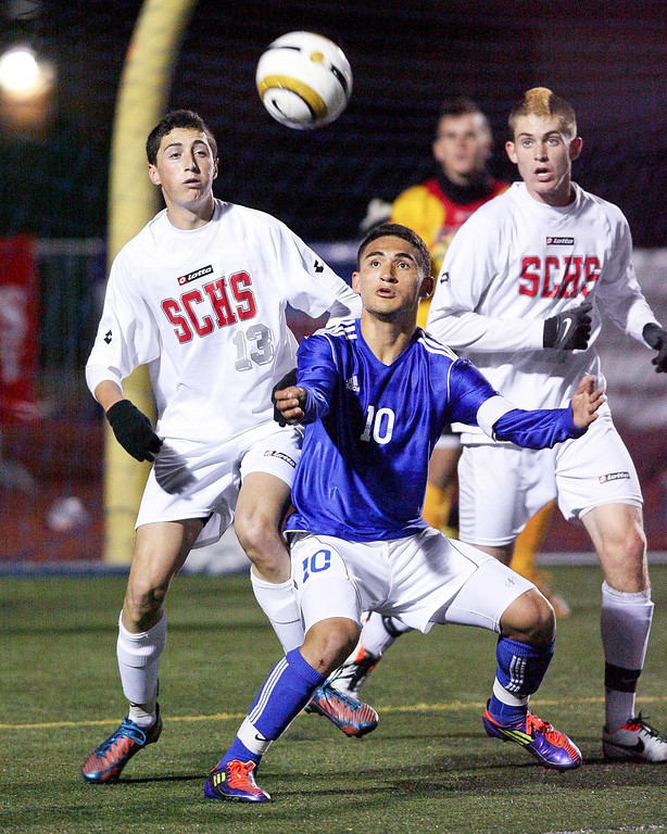 Description of . Cristian Roldan prepares to receive a pass in the heart of the San Clemente defense in the CIF Division 1 Championship game vs. San Clemente at Warren High School in Downey, Saturday March 9, 2013. El Rancho won the match 3-0.  (Correspondent photo by Chris Burt/Sports)