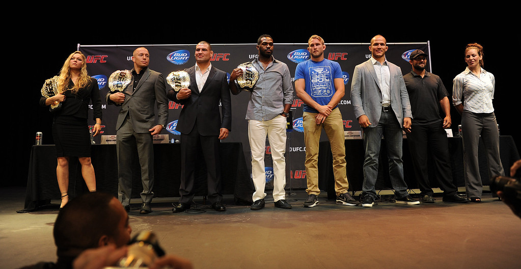 . UFC fighters on stage during the UFC World Tour at Club Nokia Tuesday, July 30, 2013 in Los Angeles. (Hans Gutknecht/Los Angeles Daily News)