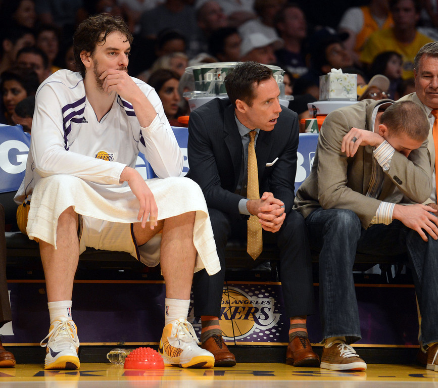 . Lakers\' Pau Gasol, Steve Nash, and Steve Blake during game four of their NBA Western Conference playoffs at the Staples Center Saturday, April 28, 2013. The Spurs beat the Lakers 120-89. The Spurs beat the Lakers 103-82. (Hans Gutknecht/Staff Photographer)