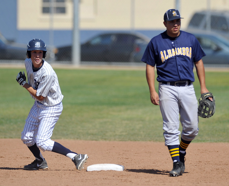 Description of . Montebello plays Alhambra in their Almont League baseball game at Montebello High School in Montebello  on Friday April 19, 2013. (SGVN/Staff Photo by Keith Durflinger)