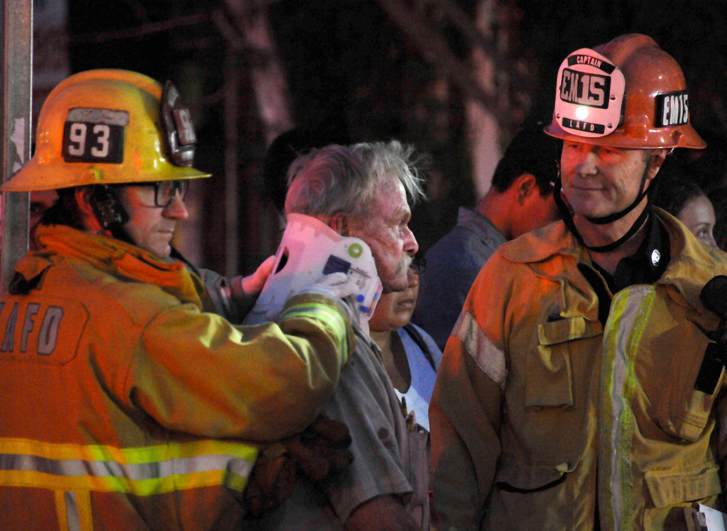 . July 4,2013 Northridge.  LA city fire on the scene were at least 6 people were critically hurt after three cars collided near Tampa and Roscoe in Northridge. The cause of the crash is under investigation. Photo by Gene Blevins/LA Daily News