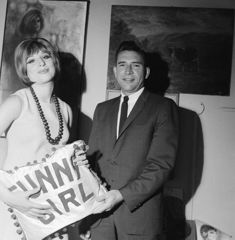 ". Nevada Gov.Grant Sawyer visits backstage with Barbra Streisand, star of  ""Funny Girl\"" after the Broadway performance on June 17, 1964 in New York.   (AP Photo)"