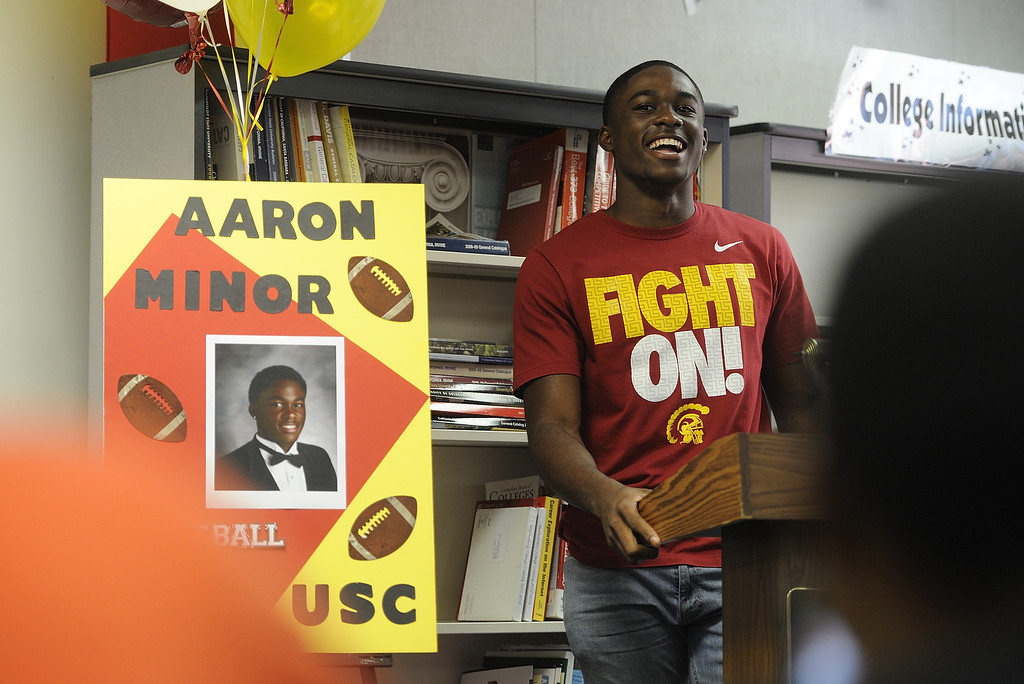 . LAKEWOOD, CALIF. USA -- Mayfair High recent graduate Aaron Minor during his Signing Ceremony in Lakewood, Calif., on July 2, 2013. Minor is a late signee with USC football. Photo by Jeff Gritchen / Los Angeles Newspaper Group