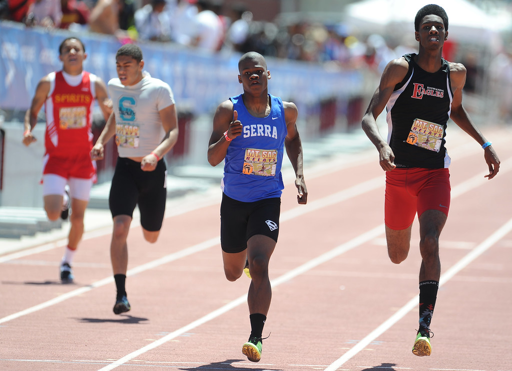 Description of . Ronny Hall of Serra (Gardena) finished second in the 400 meter dash invitational high school during the Mt. SAC Relays in Hilmer Lodge Stadium on the campus of Mt. San Antonio College on Saturday, April 20, 2012 in Walnut, Calif.    (Keith Birmingham/Pasadena Star-News)