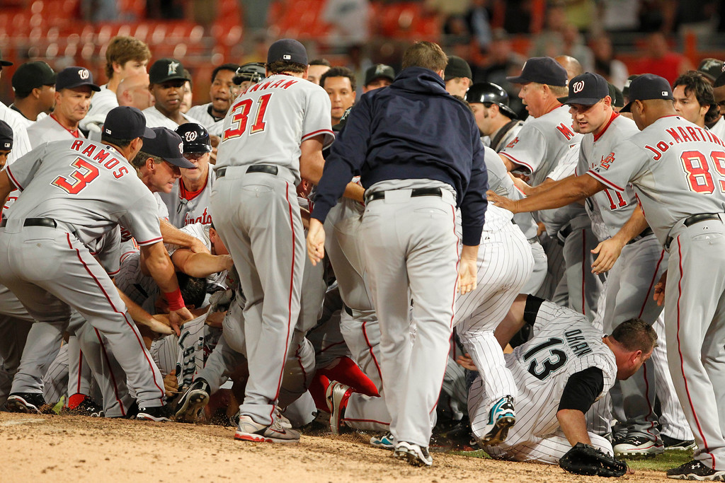 . Players from the Washington Nationals and the Florida Marlins brawl during the sixth inning of a baseball game Wednesday, Sept. 1, 2010, in Miami. (AP Photo/Wilfredo Lee)