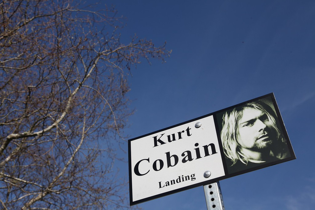 . A sign in Kurt Cobain Park in Aberdeen, Washington on April 1, 2014. The park where Cobain used to hang out and write songs has become a symbol for fans as it was a gathering place after the news of his death spread. Nirvana fans prepare to mark the 20th anniversary of the iconic frontmans suicide on April 5.          (Sebastian VUAGNAT/AFP/Getty Images)