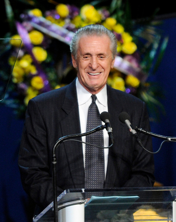 . Pat Riley speaks at the Jerry Buss Memorial Service at Nokia Theatre, Thursday, February 21, 2013. (Michael Owen Baker/Staff Photographer)