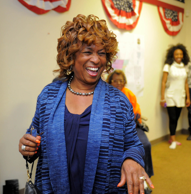 . 03-05-2013--(LANG Staff Photo by Sean Hiller)- Carson Councilwoman Lula Davis-Holmes enjoys the atmosphere at her election night campaign headquarters as she and Mayor Jim Dear were in a tight race for mayor late Tuesday night in Carson.