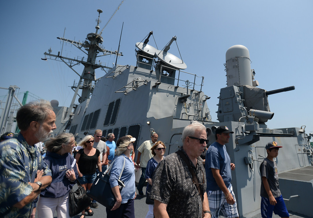 . People take a tour of the USS Spruance, an Arleigh Burke-class guided missile destroyer, which is docked in the Port of Los Angeles for Navy Days.  The radar-guided guns systems were a draw. Saturday, August 09, 2014, San Pedro, CA.   Photo by Steve McCrank/Daily Breeze