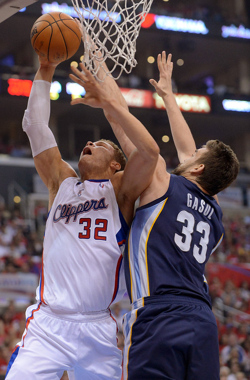 . Clippers forward Blake Griffin and Marc Gasol of the Memphis Grizzlies battle under the hoop during game 2 of the 2013 NBA Western Conference Playoffs April 22, 2013 in Los Angeles, CA.(Andy Holzman/Staff Photographer)