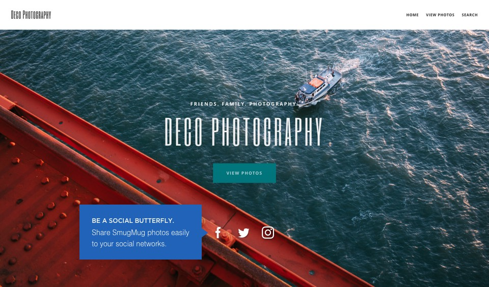Social buttons: Be a social butterfly. Share SmugMug photos easily to your social networks.